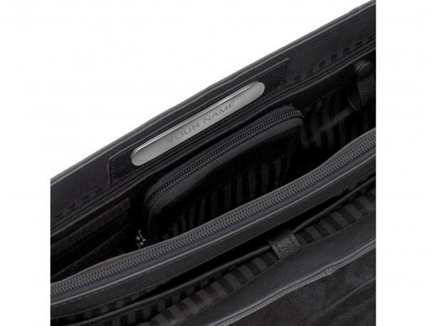 Cartella con patta 2 scomparti in pelle in nero personalized