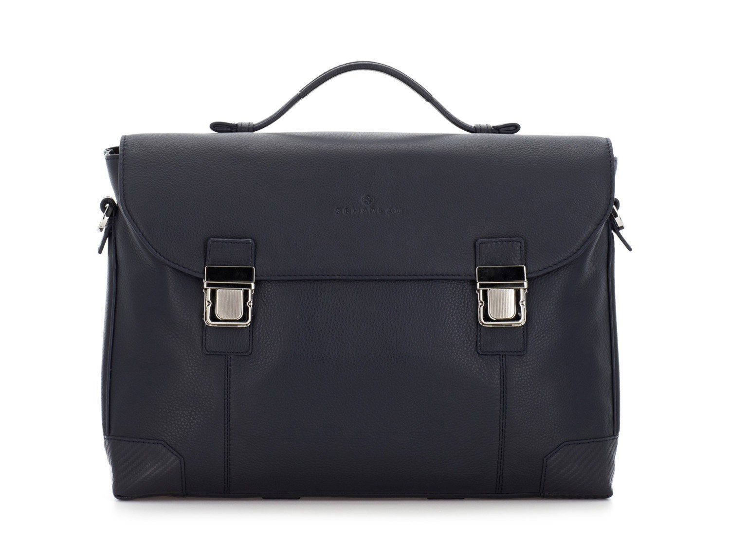 leather briefbag with flap in blue front