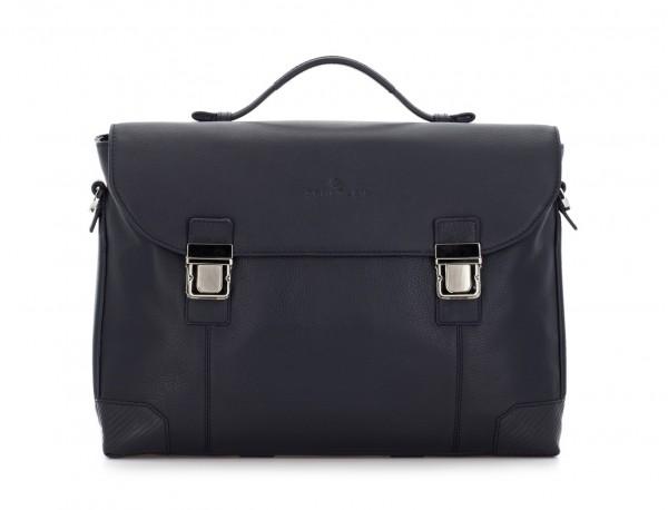 maletín de cuero con solapa azul frontal