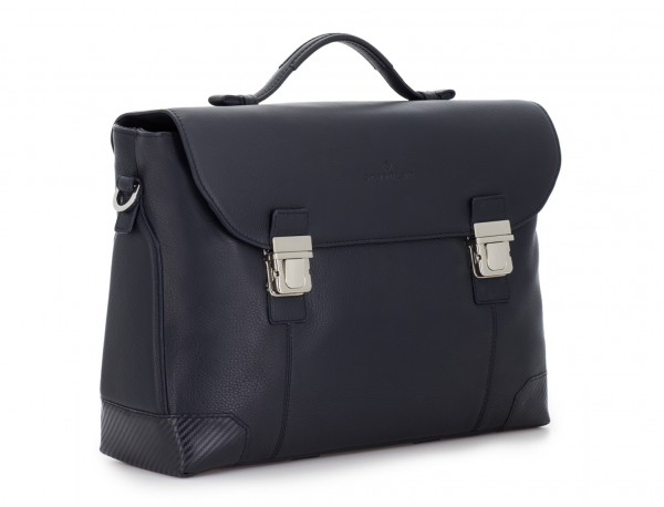 leather briefbag with flap in blue side