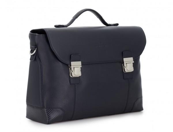 maletín de cuero con solapa azul lado