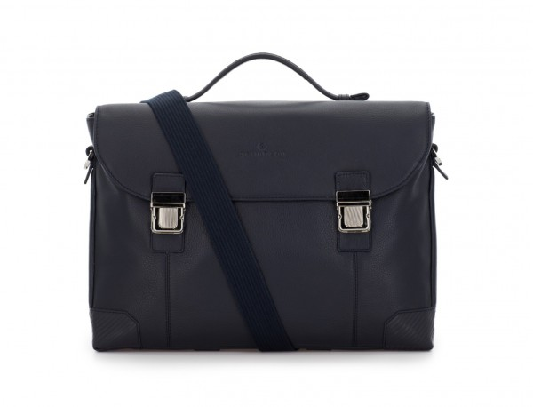 leather briefbag with flap in blue strap