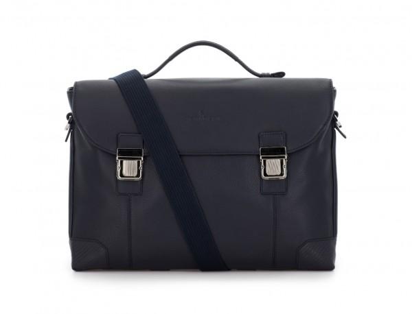 maletín de cuero con solapa azul bandolera