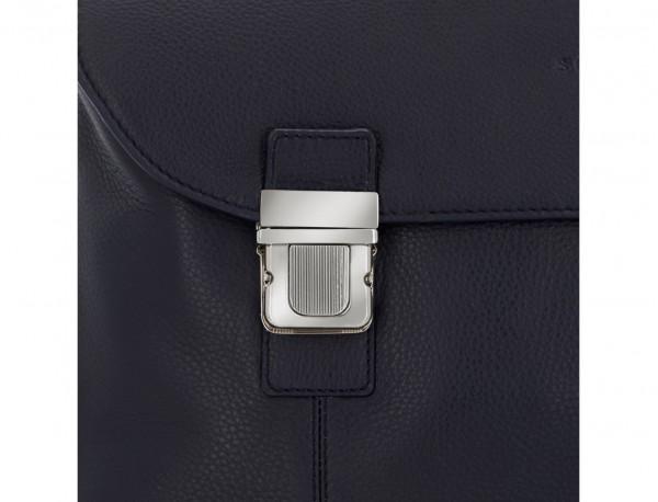 maletín de cuero con solapa azul cierre