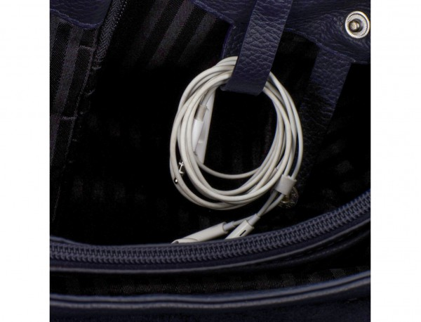 leather briefbag with flap in blue cables
