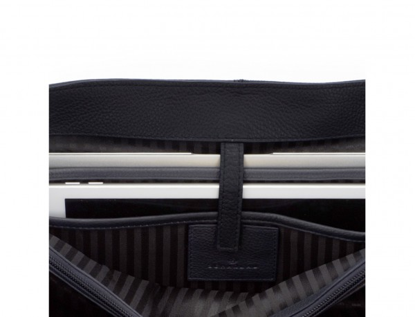 Cartella con patta 2 scomparti in pelle in blu laptop