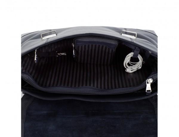 maletín de cuero con solapa azul interior