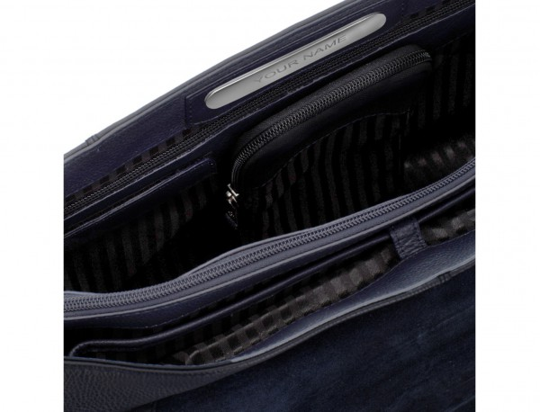 leather briefbag with flap in blue personalized