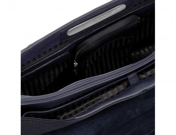 maletín de cuero con solapa azul personalizado