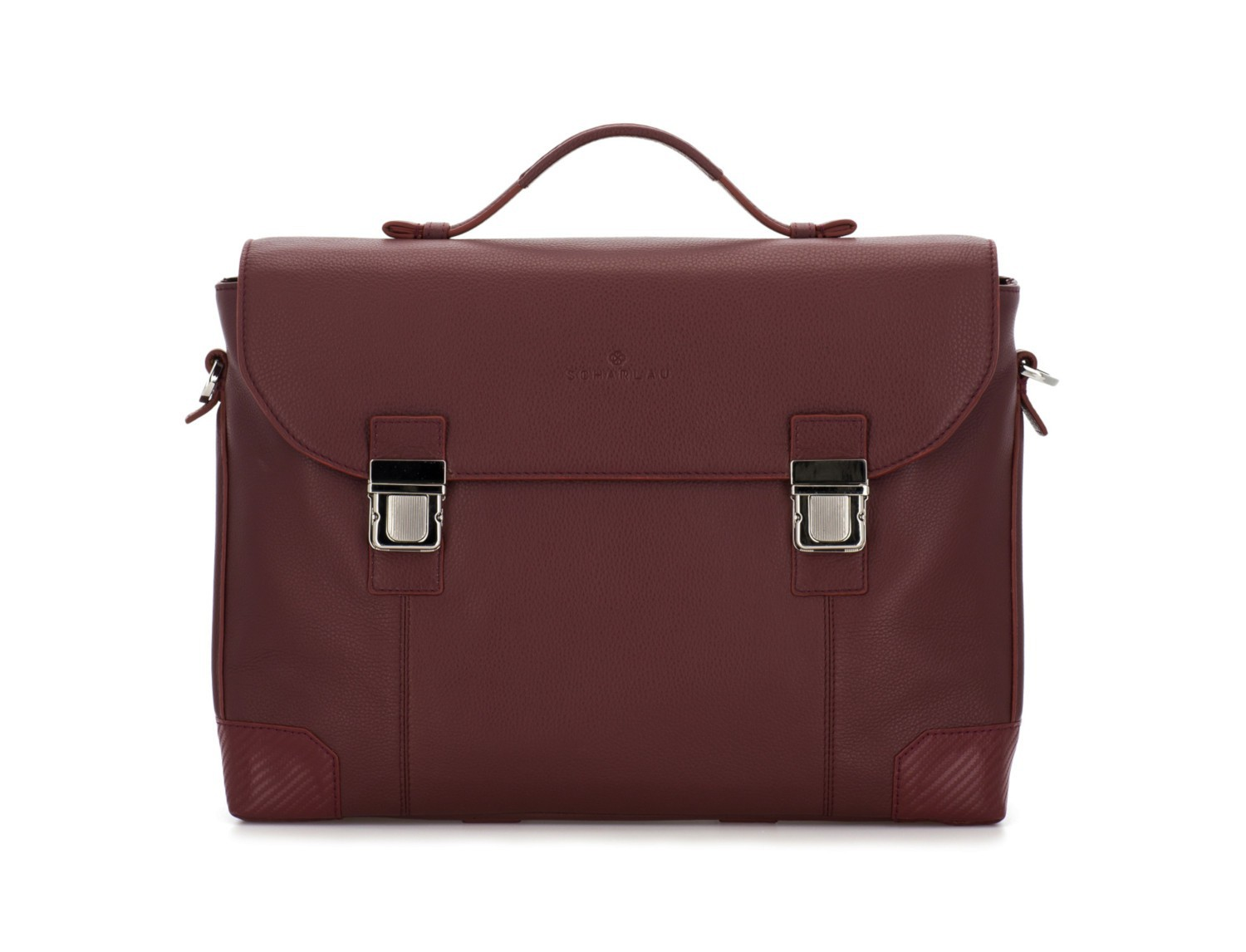 leather briefbag with flap in burgundy front