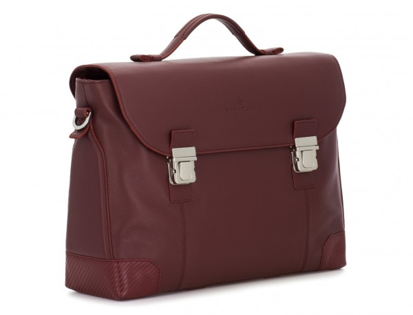 leather briefbag with flap in burgundy side