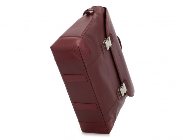 leather briefbag with flap in burgundy base