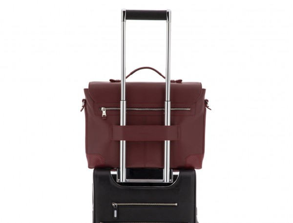 leather briefbag with flap in burgundy trolley