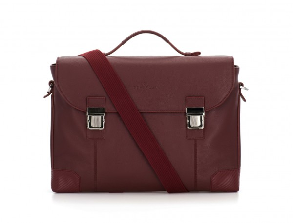 leather briefbag with flap in burgundy strap
