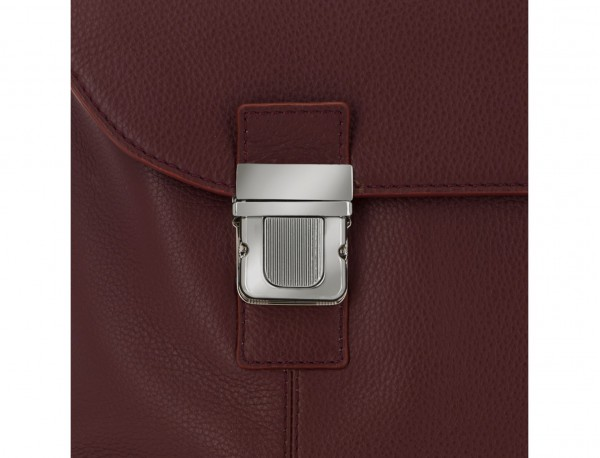 leather briefbag with flap in burgundy clasp