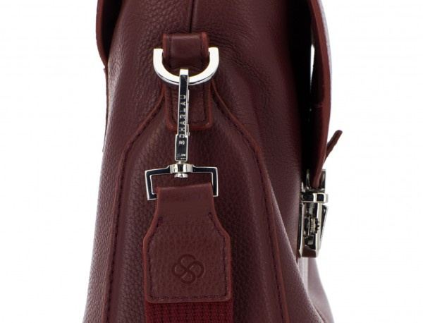 leather briefbag with flap in burgundy detail