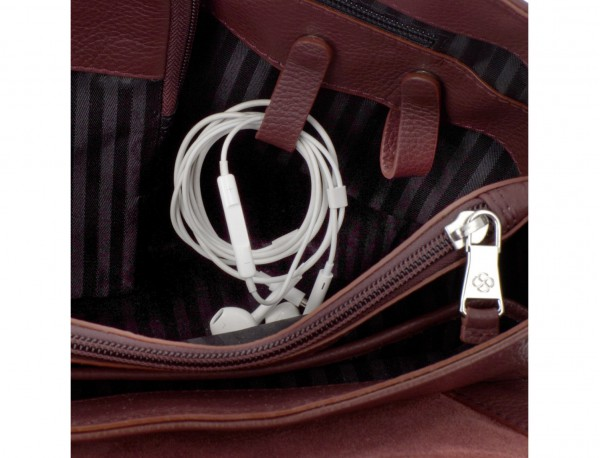 leather briefbag with flap in burgundy cables