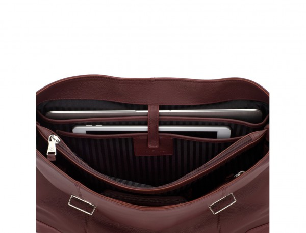 leather briefbag with flap in burgundy laptop