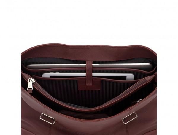 maletín de cuero con solapa burdeos ordenador