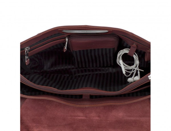 leather briefbag with flap in burgundy open