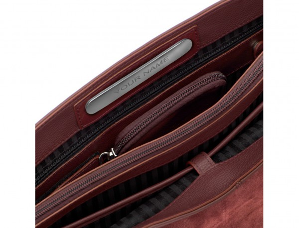 leather briefbag with flap in burgundy personalized