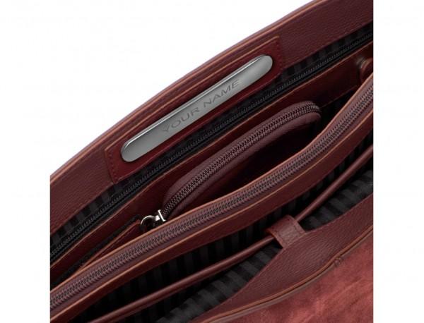 maletín de cuero con solapa burdeos personalizable