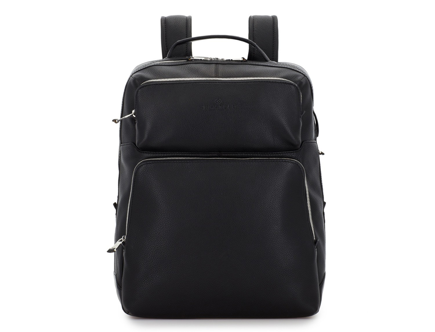 leather backpack in black front