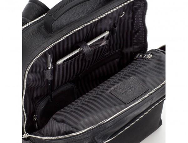leather backpack in black pockets