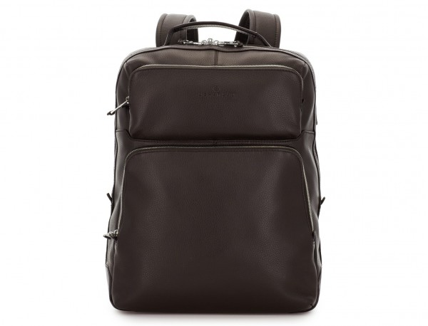 leather backpack in brown front