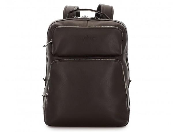 mochila de piel marrón frontal