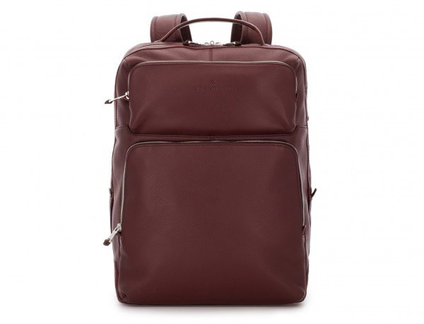 leather backpack in burgundy front