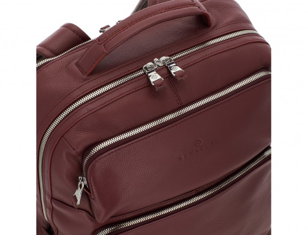 leather backpack in burgundy detail