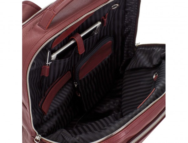 leather backpack in burgundy pockets