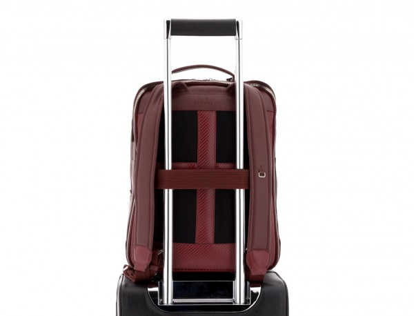 leather backpack in burgundy trolley