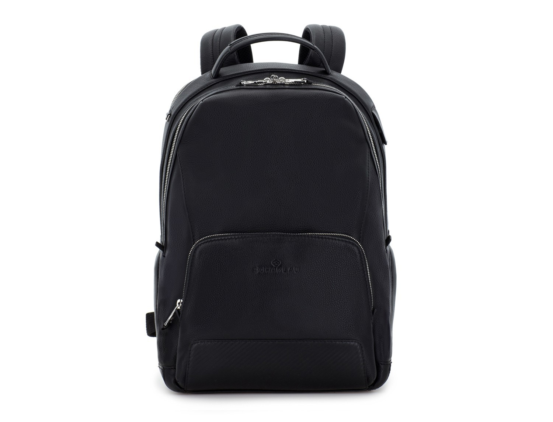 mochila de cuero negra frontal