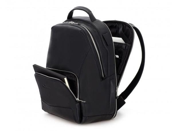mochila de cuero negra lado