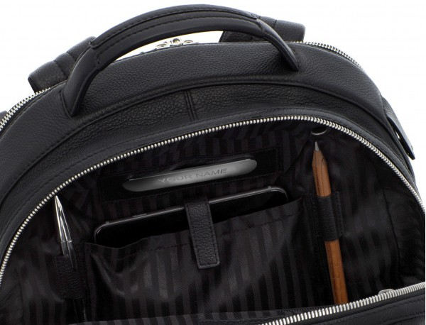 leather backpack black personalized