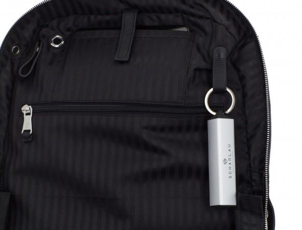 mochila de cuero negra funcional