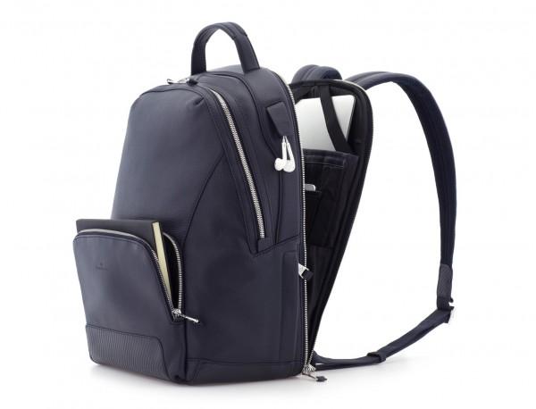 mochila de cuero azul lateral