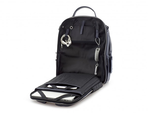 leather backpack blue open