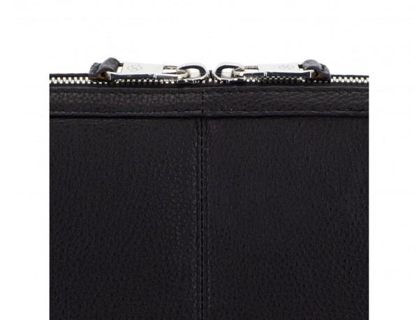 Portadocumenti in pelle nero zipper