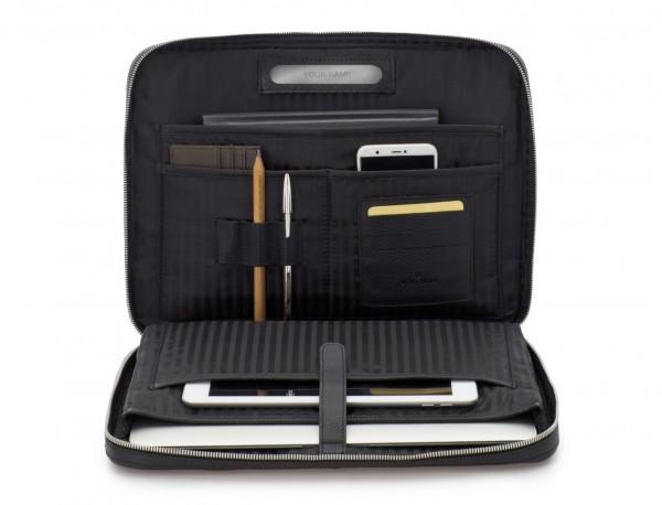 leather portfolio in black inside