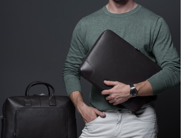 leather portfolio in brown model