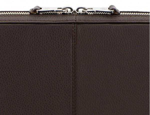 leather portfolio in brown zipper