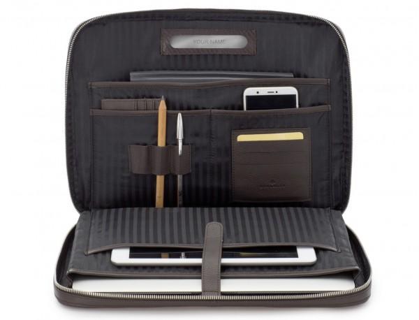 leather portfolio in brown inside