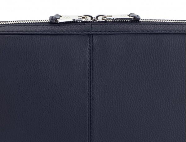 leather portfolio in blue zipper