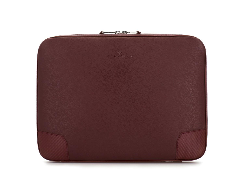 leather portfolio in burgundy front