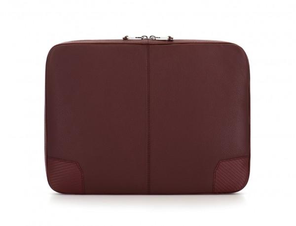 leather portfolio in burgundy  back