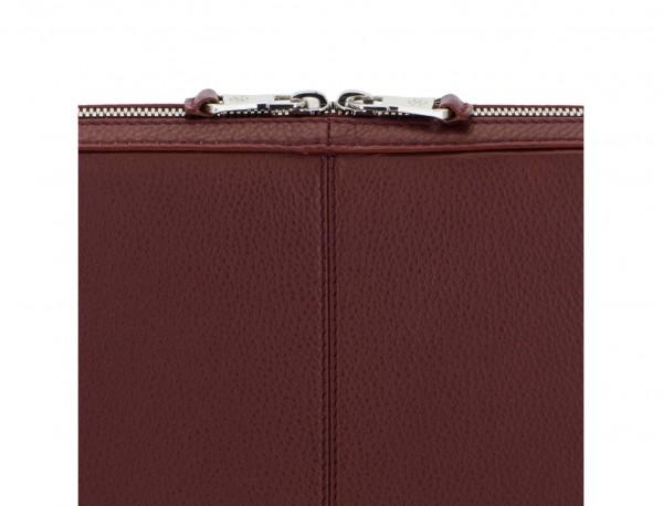 leather portfolio in burgundy detail