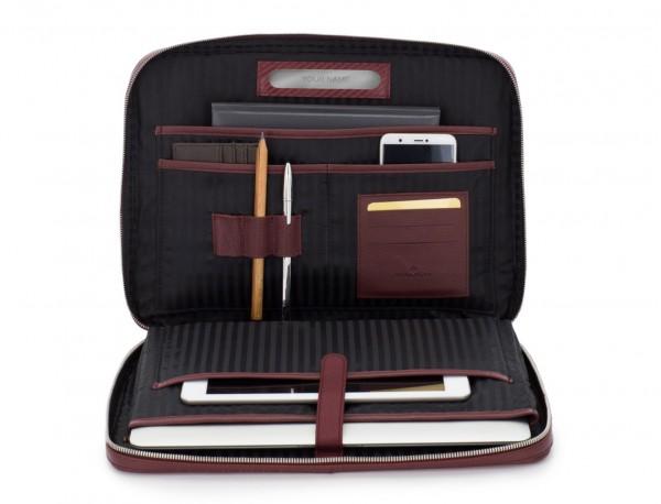 leather portfolio in burgundy inside
